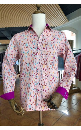 ABH Collection JÁVEA Camisa de hombre estampada calavera de bueyes