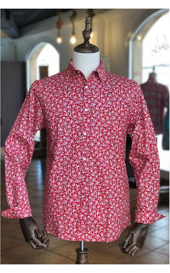 Camisa roja de hombre estampado flores pequeñas | ABH Collection JÁVEA