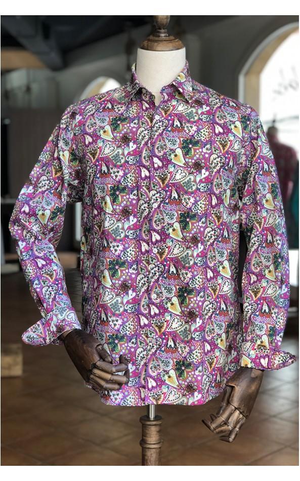 Chemise homme violette imprimés coeurs | ABH Collection JÁVEA