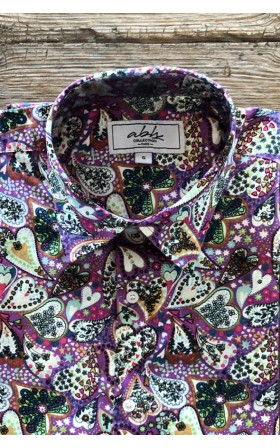 ABH Collection JÁVEA Men's purple printed hearts shirt