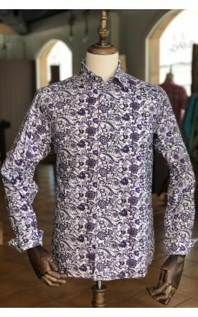 ABH Collection JÁVEA Camisa de hombre tropical paisley morado