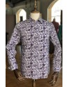 Purple lotus flower print men's shirt | ABH Collection JÁVEA