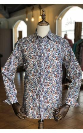 ABH Collection JÁVEA White shirt print Cashmere men's
