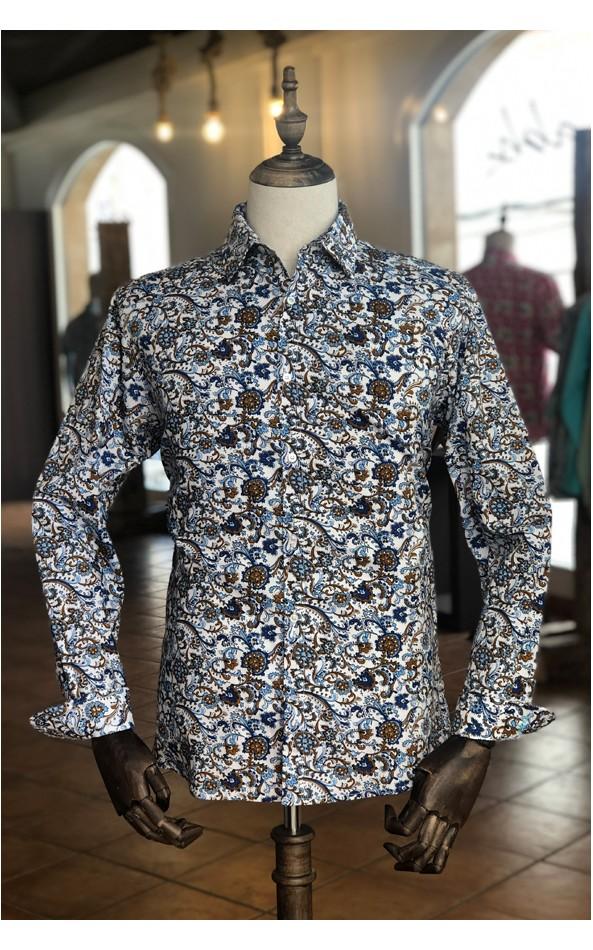 Camisa de hombre estampado flor de loto azul | ABH Collection JÁVEA
