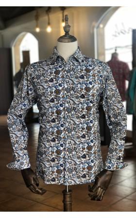 ABH Collection JÁVEA Blue paisley tropical man shirt