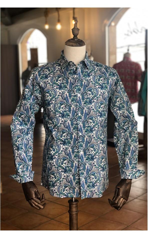 Chemise homme imprimés cachemire bleu | ABH Collection JÁVEA