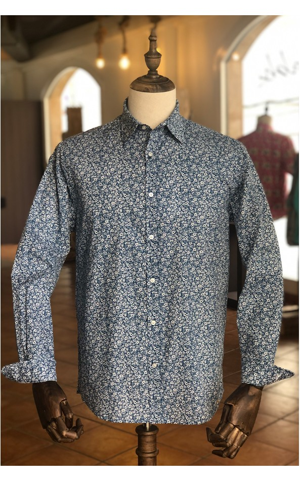 Small flowers print men's blue shirt | ABH Collection JÁVEA