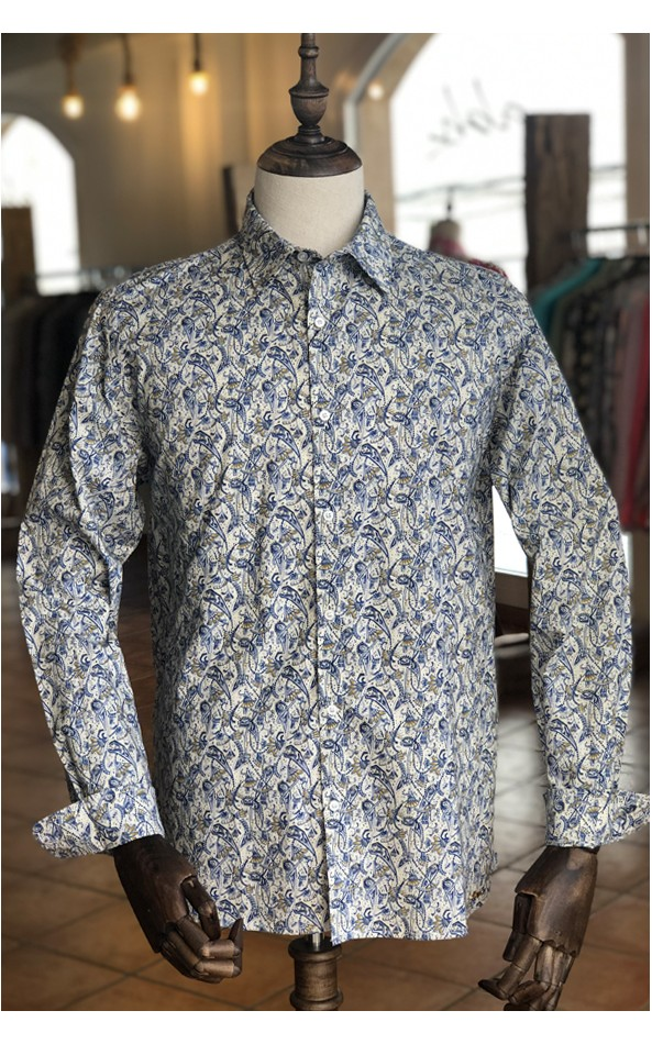Camisa de hombre estampado arte azul | ABH Collection JÁVEA