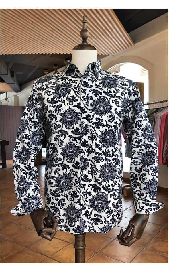 Camisa de hombre estampado gran flor azul | ABH Collection JÁVEA