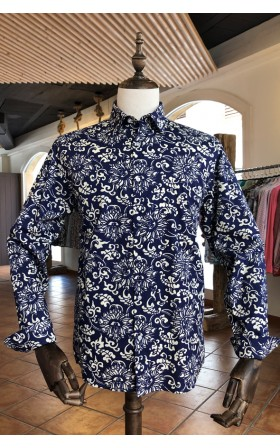 ABH Collection JÁVEA Blue men's shirt with white flowers