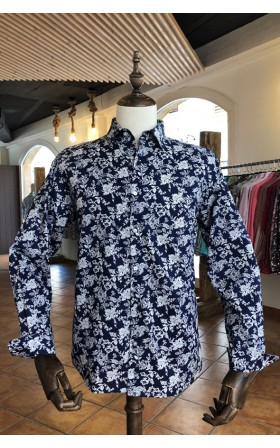 ABH Collection JÁVEA Chemise bleue marine homme imprimé fleurs blanches