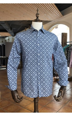 ABH Collection JÁVEA Blue square print men's shirt