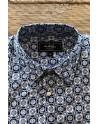 Camisa de hombre azul estampado cuadrada | ABH Collection JÁVEA