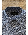Square print men's blue shirt | ABH Collection JÁVEA