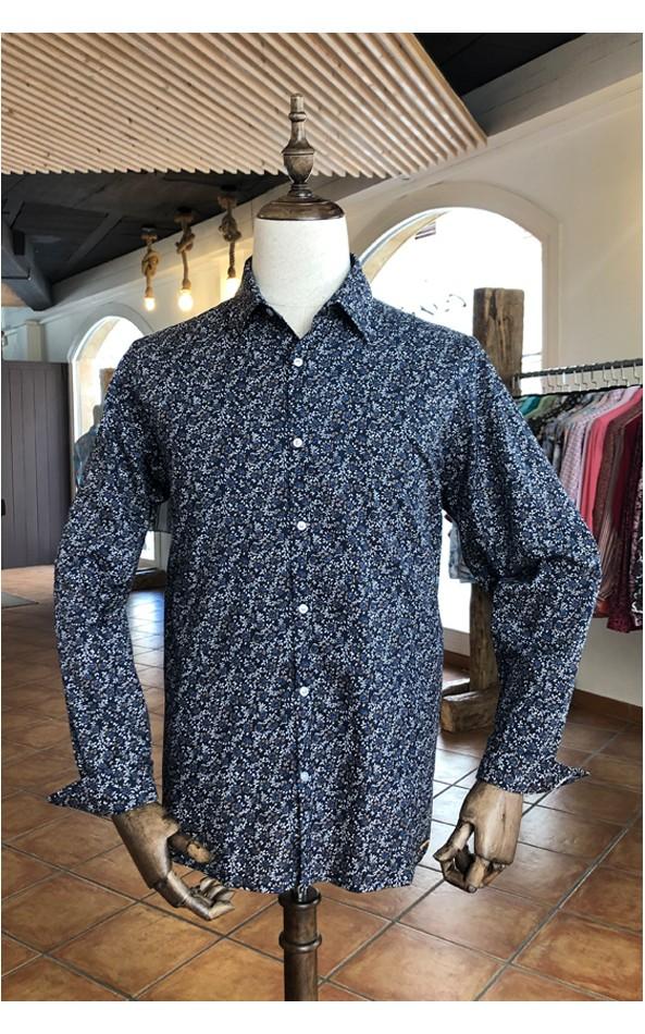 Roses print navy blue men's shirt | ABH Collection JÁVEA