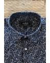 Chemise homme bleue marine imprimés de roses | ABH Collection JÁVEA