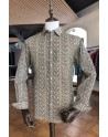 Small flowers print beige men's shirt | ABH Collection JÁVEA