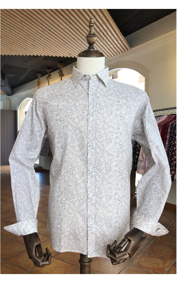 Brown flowers print beige men's shirt | ABH Collection JÁVEA