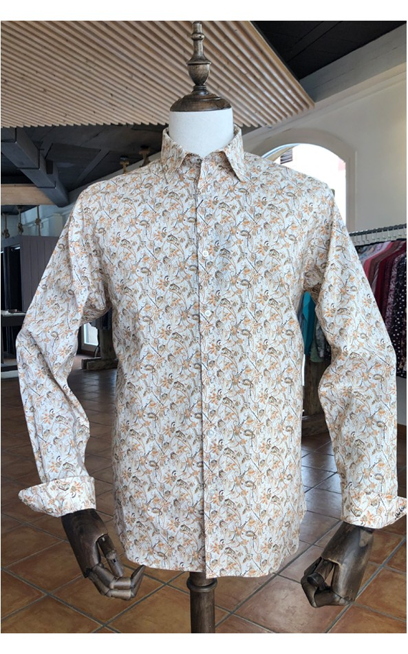 Art brown print men's shirt | ABH Collection JÁVEA