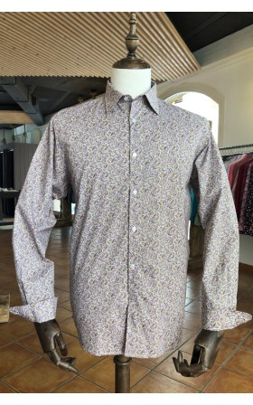 ABH Collection JÁVEA Men shirt taupe paisley burgundy