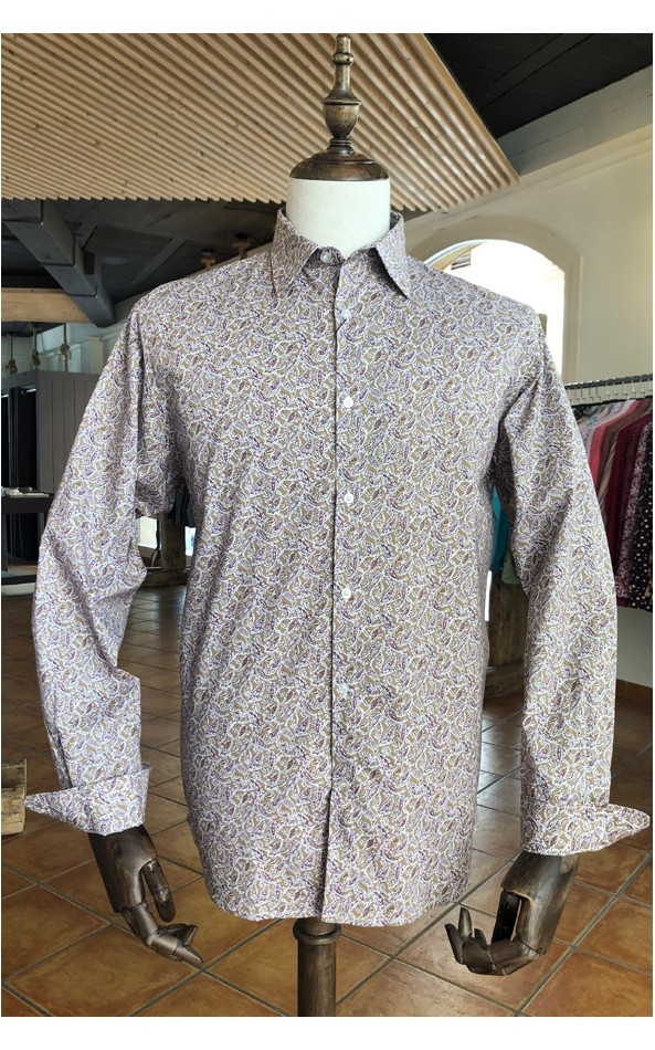 Camisa de hombre estampado paisley burdeos | ABH Collection JÁVEA