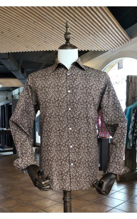 ABH Collection JÁVEA Brown men shirt small flowers
