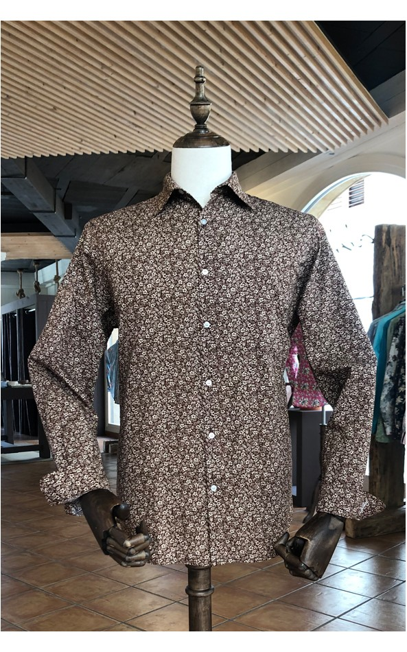 Small flower print brown men's shirt | ABH Collection JÁVEA