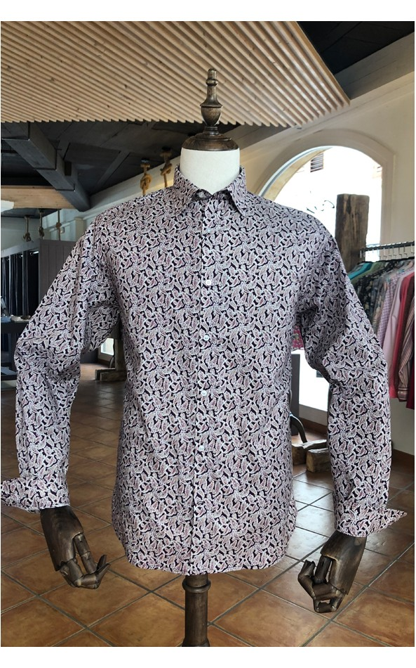 Camisa de hombre burdeos estampado paisley blanca | ABH Collection JÁVEA