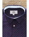 Red dot print blue men's shirt | ABH Collection JÁVEA