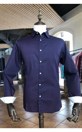ABH Collection JÁVEA Red round printed blue men's shirt