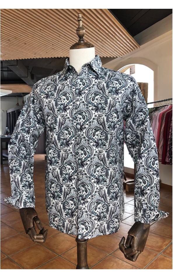 Camisa de hombre estampado cachemir gris | ABH Collection JÁVEA