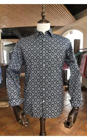 ABH Collection JÁVEA Black square print men's shirt