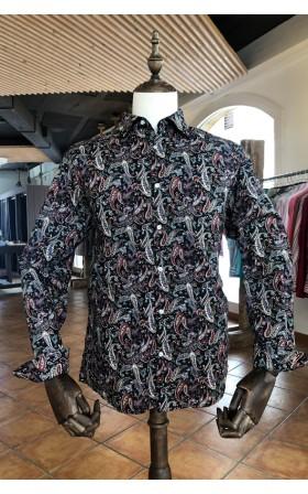 ABH Collection JÁVEA Camisa para hombre negro estampada cachemir