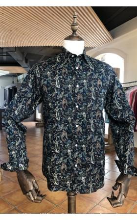 ABH Collection JÁVEA Camisa hombre azul marino estampada cachemir