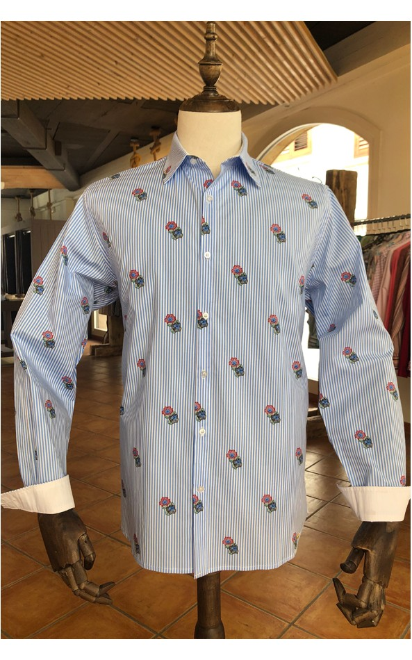 ABH Collection JÁVEA Blue striped men's shirt with floral pattern