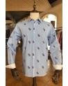 Chemise homme rayée bleu blanc imprimés fleurs | ABH Collection JÁVEA