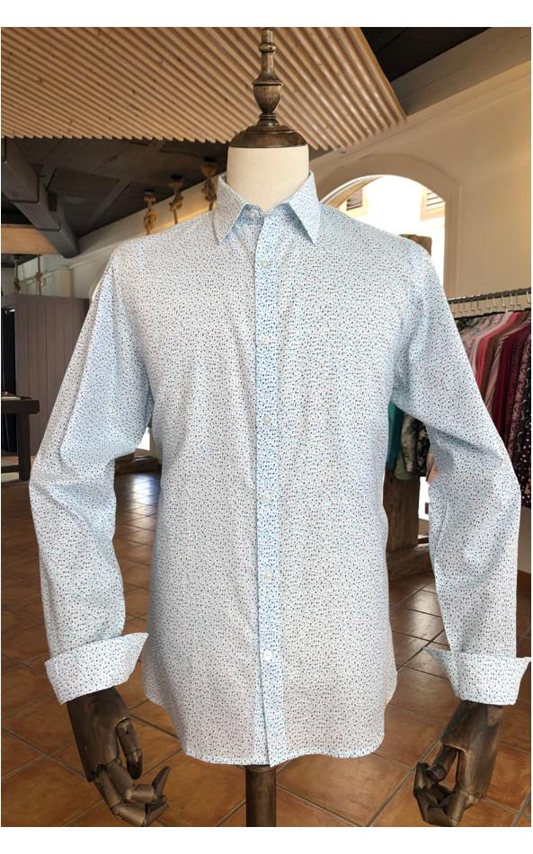 ABH Collection JÁVEA Camisa hombre blanca de punto azul