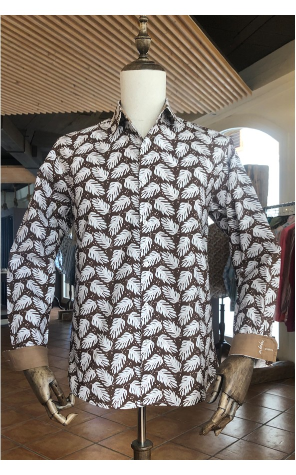 Monstera leaf print men's shirt | ABH Collection JÁVEA
