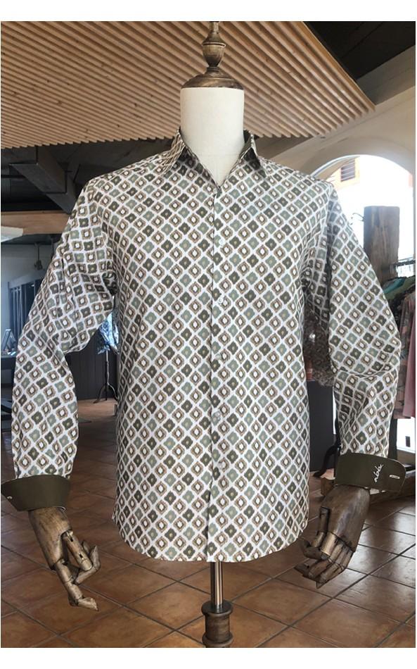 ABH Collection JÁVEA| Men's natural diamond print shirt