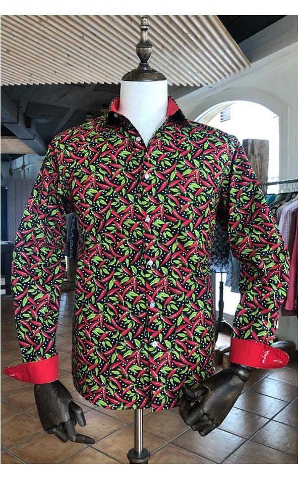 Red chilli pepper print black men's shirt | ABH Collection JÁVEA