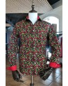 ABH Collection JÁVEA  Black mens shirt red chilli peppers print