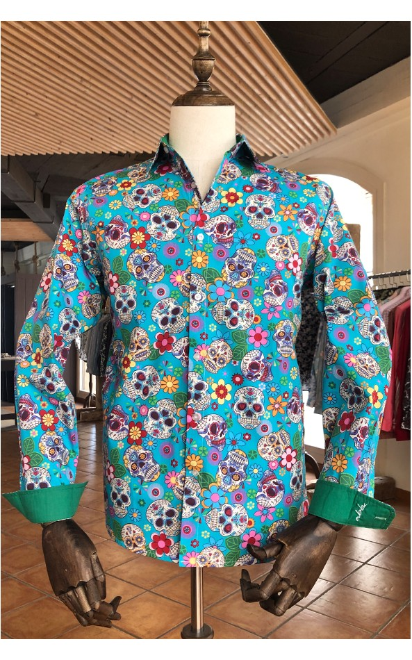 Mexican skull print turquoise men's shirt | ABH Collection JÁVEA