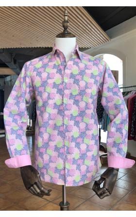 ABH Collection JÁVEA Printed man shirt pink paintball shot