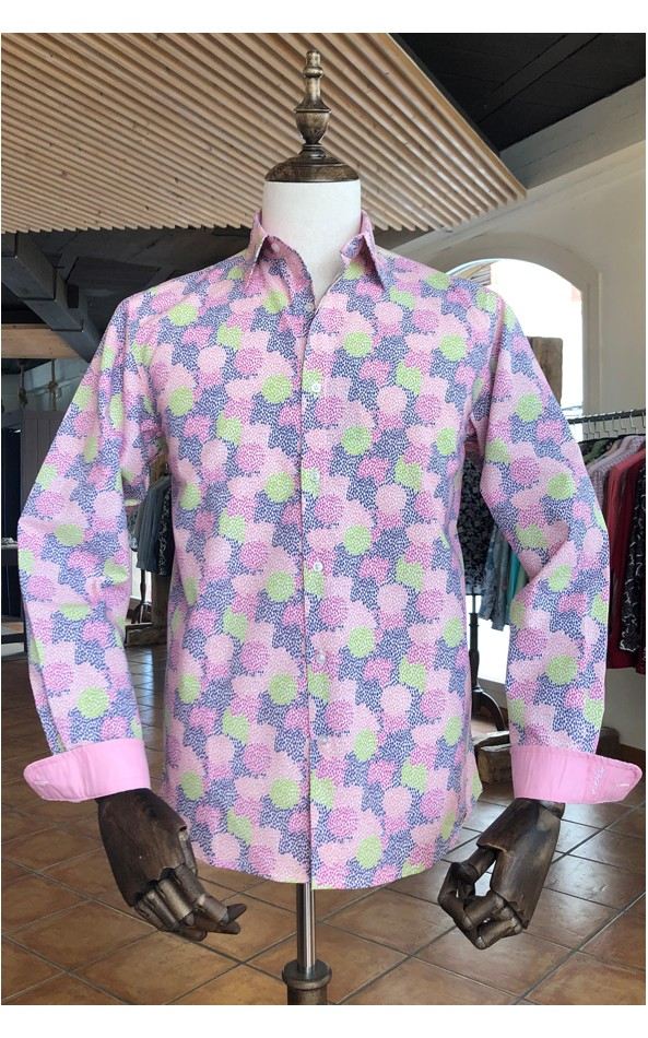 Camisa de hombre rosa  estampado paintball | ABH Collection JÁVEA