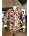 Chemise homme rose imprimés Frida KAHLO |ABH Collection JÁVEA