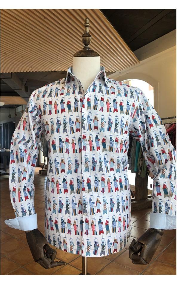 Camisa de hombre estampado cometa Japonesa   ABH Collection JÁVEA