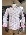 Chemise homme blanche imprimés flamant rose | ABH Collection JÁVEA