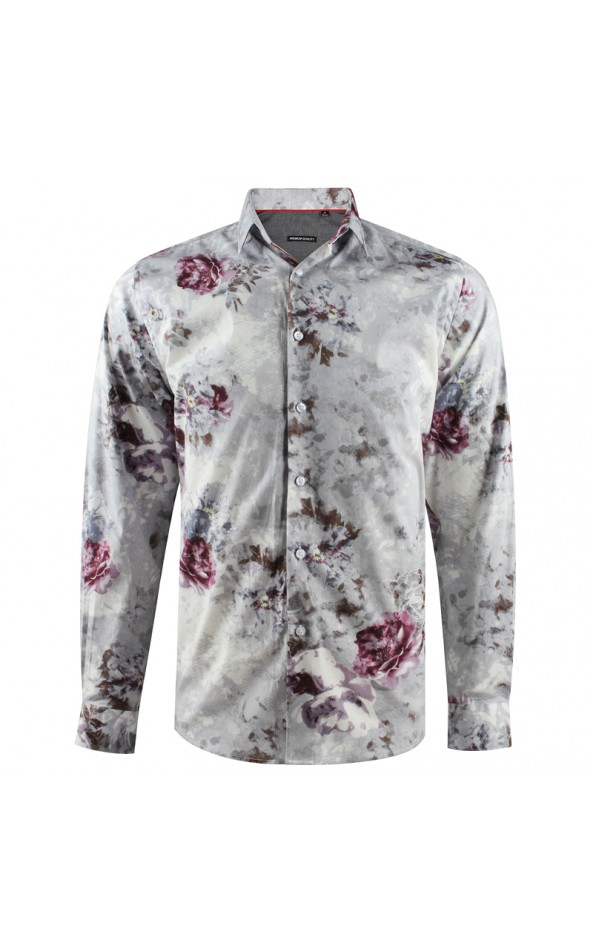 Camisa de hombre gris estampado flores grande | ABH Collection JÁVEA