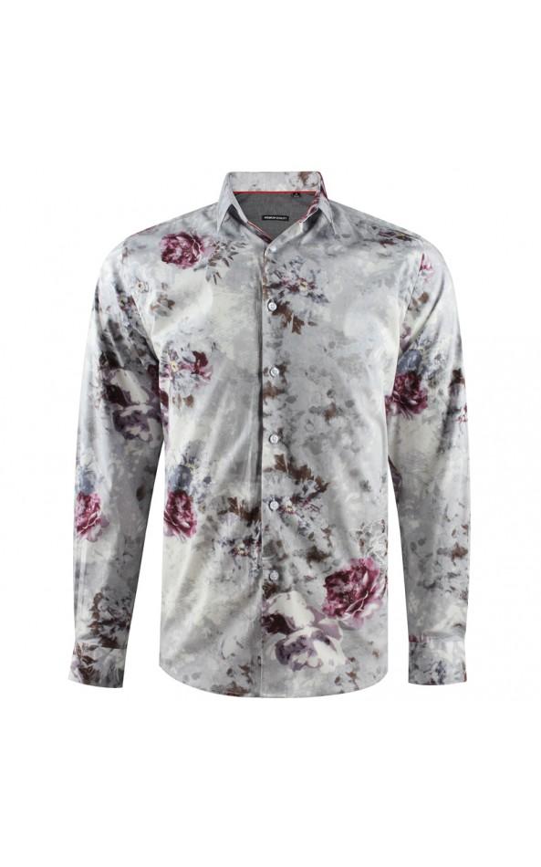 Large flowers print grey men's shirt | ABH Collection JÁVEA