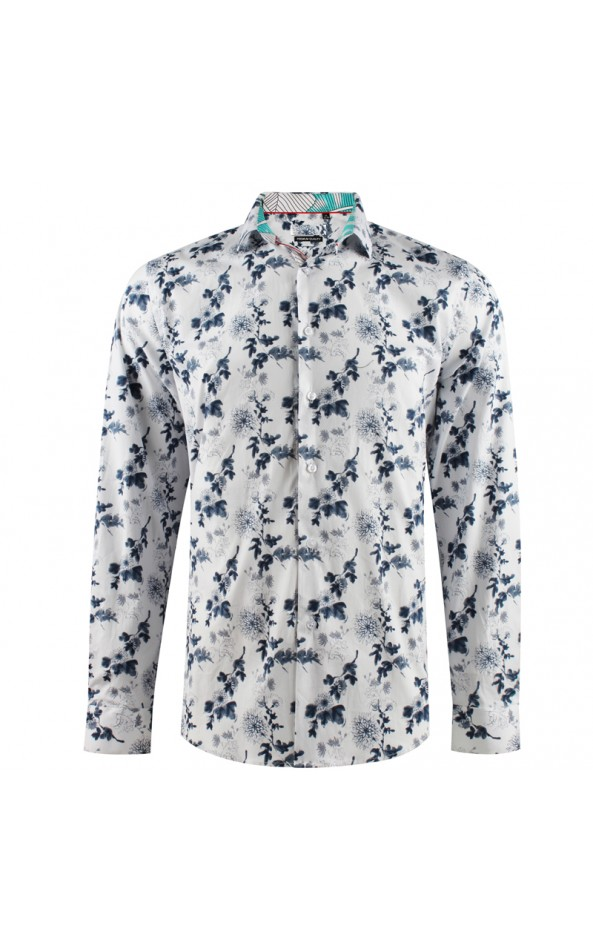 Camisa de hombre con estampado de tallo de flores | ABH Collection JÁVEA